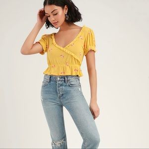 Free People Full Bloom Ruffle Floral Top Small